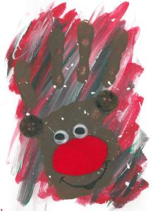 My messy, cheerful Rudolph!
