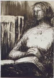 'Woman With Book' lithograph