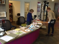 Catherine shows a display of Artiust Books
