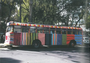 Yarn Bombing pioneer, Magda Sayeg's bus project in Mexico
