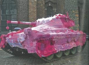 Marianne Jorgensen - Tank cosy against Denmark's involvement in the Iraq war / Yarn Bombing